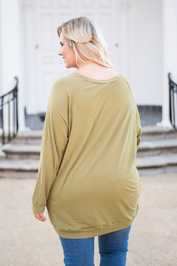 tunic, long sleeve, scoop neck, olive, solid, comfy, loose