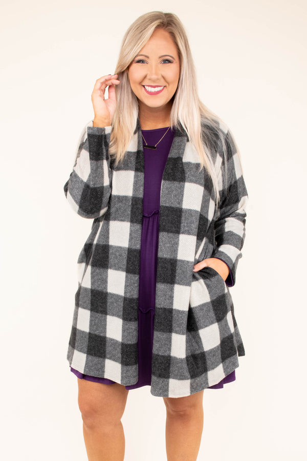 cardigan, long sleeve, long, pockets, flowy, black, white, plaid, comfy, outerwear, fall, winter