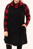 dress, short, long sleeve, cowl neck, black, plaid sleeves, plaid neck, red, pockets, comfy, flowy, fall, winter
