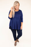 shirt, three quarter sleeve, babydoll, flowy, navy, comfy, curved hem