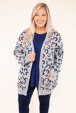top, cardigan, leopard print, gray, blush, pockets, cozy