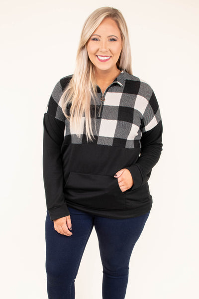 pullover, long sleeve, quarter zip, front pocket, black, white, plaid, colorblock, comfy, fitted waistband, outerwear, fall, winter