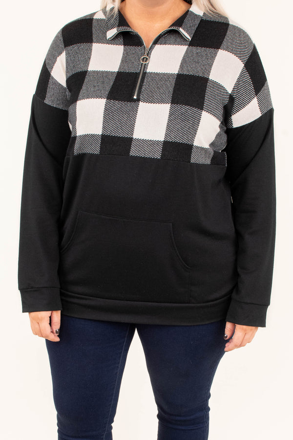 Fall Back To Fun Pullover, Black-Ivory