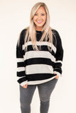 sweater, long sleeve, fuzzy, black, white, striped, comfy, fall, winter