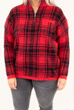 pullover, long sleeve, quarter zip, chest pocket, red, black, plaid, outerwear, fall, winter