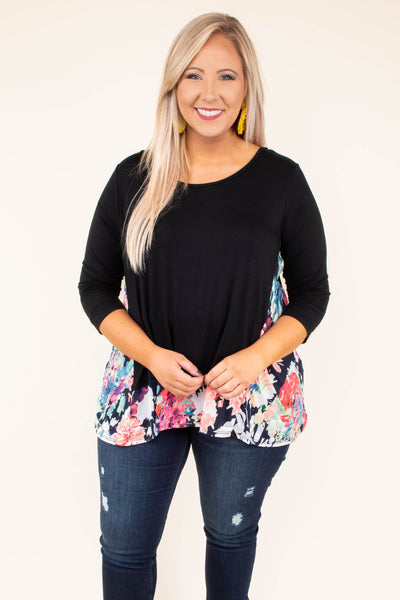 shirt, three quarter sleeve, flowy, black, floral, red, white, blue, green, colorblock, comfy