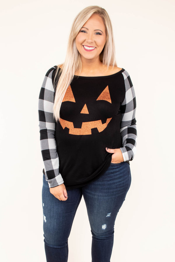 Spooky Time Top, Black-White