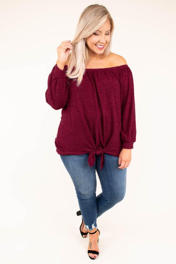 shirt, long sleeve, off the shoulder, tie front, red, comfy, longer back, fall, winter