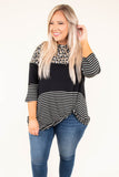 shirt, three quarter sleeve, twisted hemline, longer back, mocha, black, white, leopard, stripes, colorblock, comfy, fall, winter