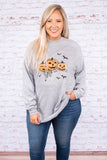 top, long sleeve, heather gray, graphic, jack-o-lantern, bats, spider webs