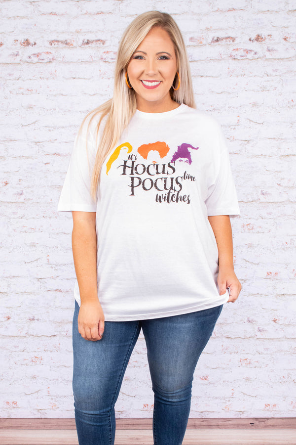 tshirt, short sleeve, loose, white, graphic, hocus pocus, yellow, orange, purple, black, halloween, fall, comfy