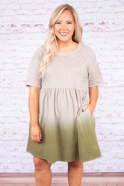 dress, short, short sleeve, ombre, tie dye, olive, neutral, year round