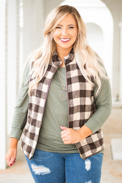 vest, zip up, pockets, brown, taupe, plaid, comfy, outerwear, fall, winter