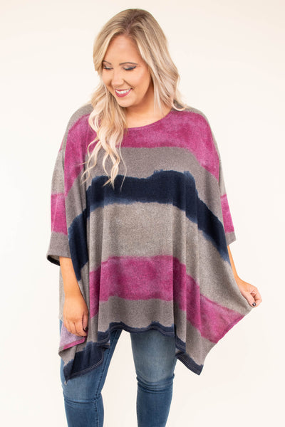poncho, top, colorblock, stripes, navy, purple, tan, relaxed fit, fall, winter