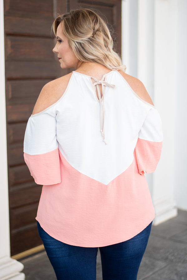 shirt, three quarter sleeve, cold shoulder, curved hem, loose, blush, tan, white, colorblock, comfy, spring, summer
