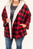 cardigan, buffalo plaid, red, black, sherpa lined, hood, pockets, cozy