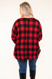 shirt, three quarter sleeve, flowy, curved hem, red, black, plaid, comfy