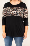 top, casual, black, colorblock, leopard, three-quarter sleeve, 3/4, cute, comfy