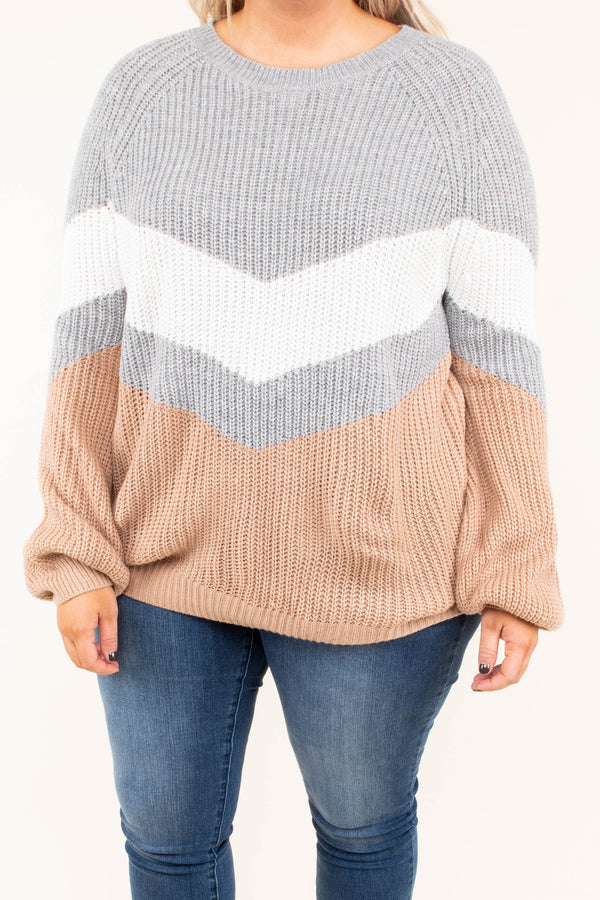 top, sweater, color block, gray, white, long sleeve, camel