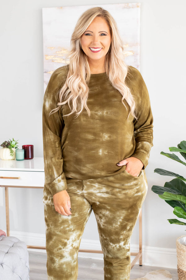 top, long sleeve, olive, comfy, cozy, tie dye
