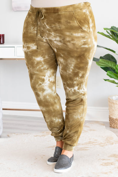 pants, long, jogger style, drawstring, pockets, olive, white, tie dye, comfy, loungewear