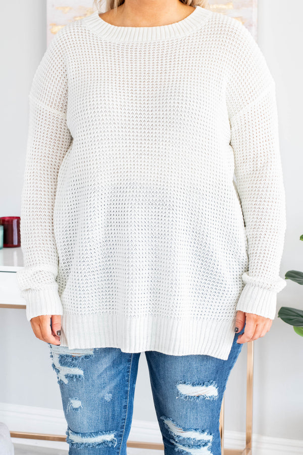 sweater, long sleeve, slit sides, white, solid, comfy, fall, winter