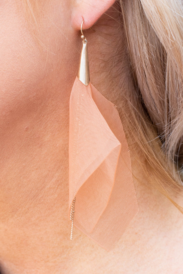 Walking On Air Earrings, Peach