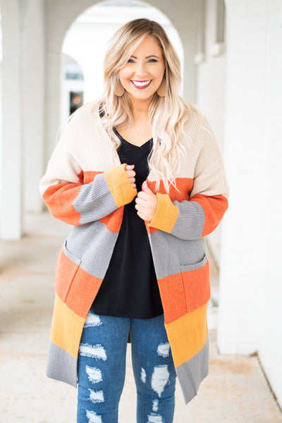 cardigan, long sleeve, long, pockets, tan, orange, gray, mustard, striped, comfy, fall, winter