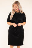 dress, midi, short sleeve, cinched waist, fitted, black