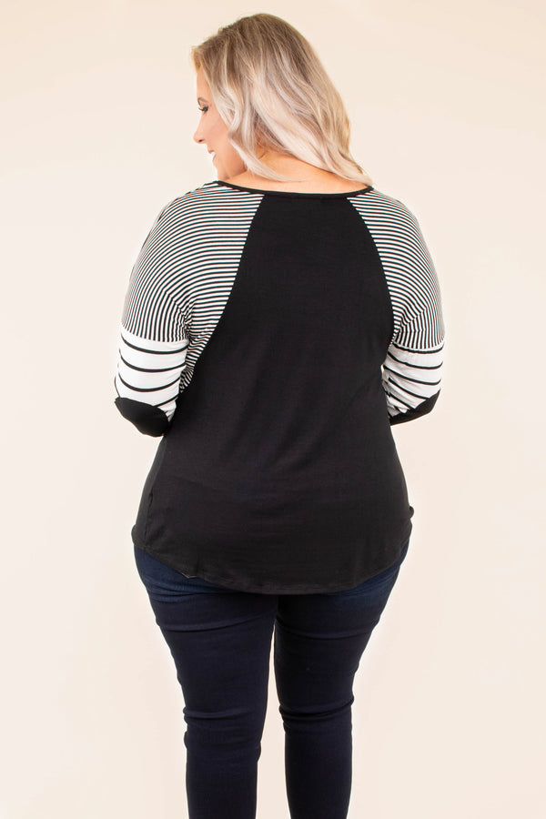 shirt, long sleeve, curved hem, elbow patches, loose, black, striped sleeves, white, comfy, fall, winter