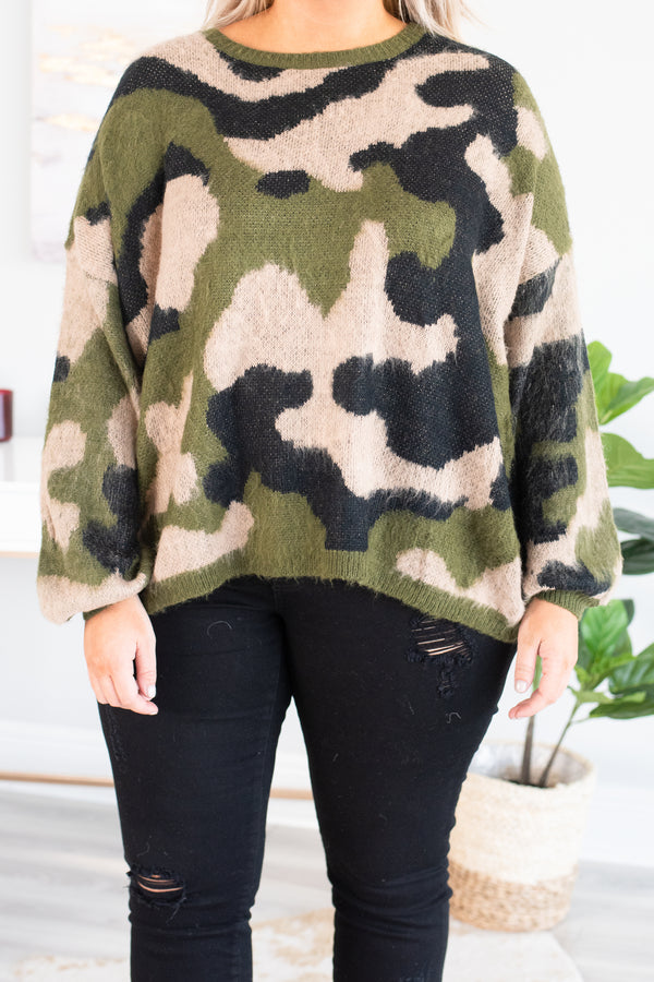 top, camo, taupe, olive, charcoal, sweater