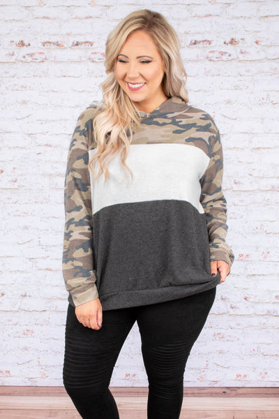 hoodie, long sleeve, hood, green, gray, white, camo, colorblock, outerwear, fall, winter