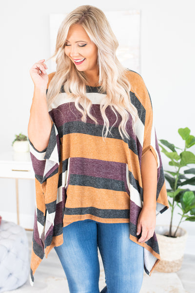 poncho, three quarter sleeve, long sides, asymmetrical hem, flowy, camel, black, white, burgundy, striped, comfy