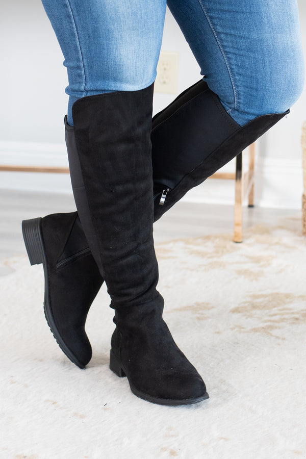 boots, tall, black, solid, low heel, zippered back, zippered side, fall, winter