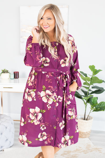 Desert Flower Dress, Eggplant