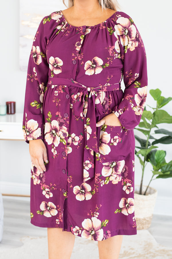 dress, midi, long sleeve, button down, ruched neckline, tie waist, pockets, purple, tan, green, floral, flowy, comfy