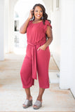 jumpsuit, crop, tie waist, ruffle sleeve, Marsala, button open back
