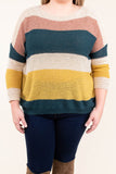 shirt, long sleeve, short, tan, mauve, green, yellow, striped, comfy, fall, winter
