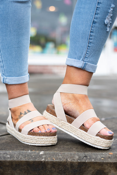 sandals, wedges, platform, straps, open toed, ankle strap, nude, cork sole