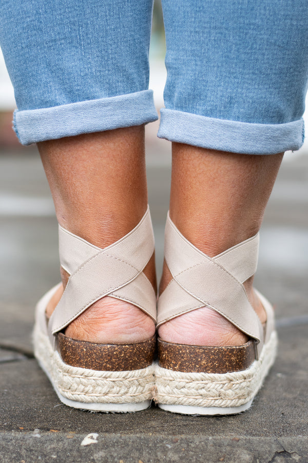 Take Me On A Trip Wedges, Nude