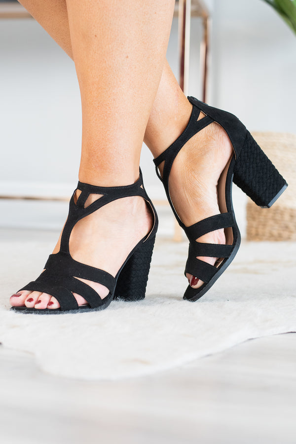 shoe, heels, black, strappy, block heel, rope heel, open toe, zip back