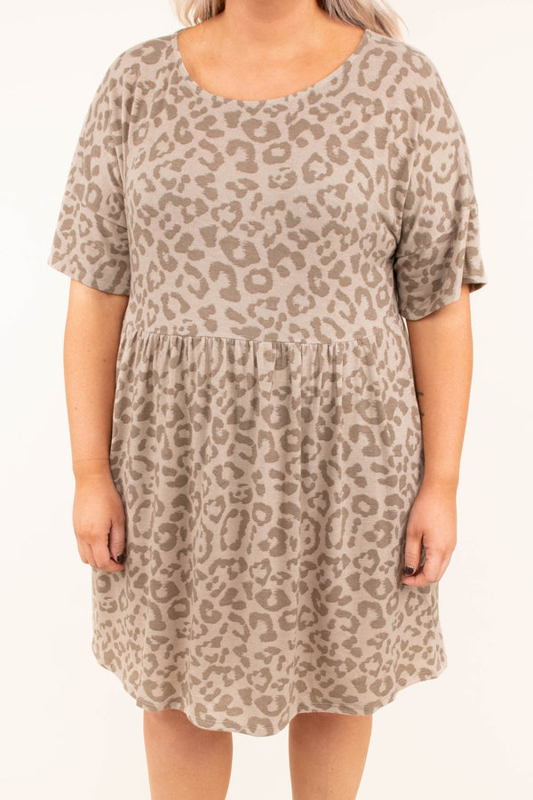 dress, short, short sleeve, babydoll, taupe, leopard, flowy, comfy