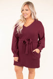 dress, long sleeve, tie waist, v neck, balloon sleeve, wine, short
