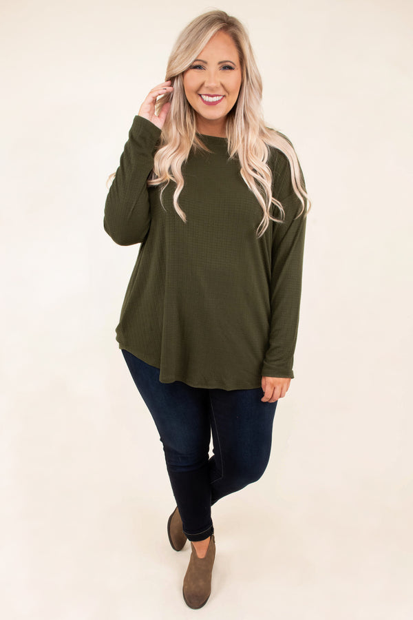 Overwhelming Comfort Top, Olive