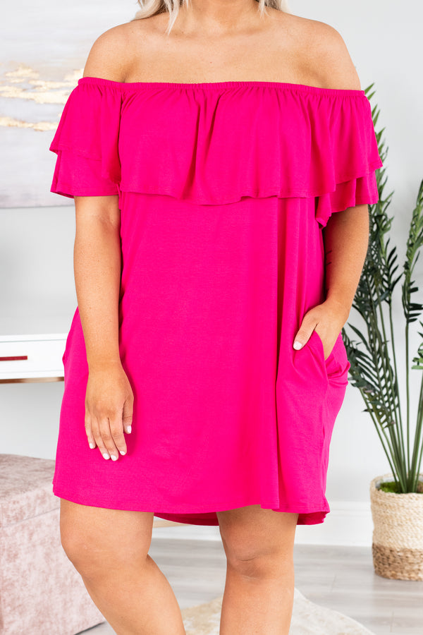dress, sort, off the shoulder, pink, short sleeve, ruffle top, pockets