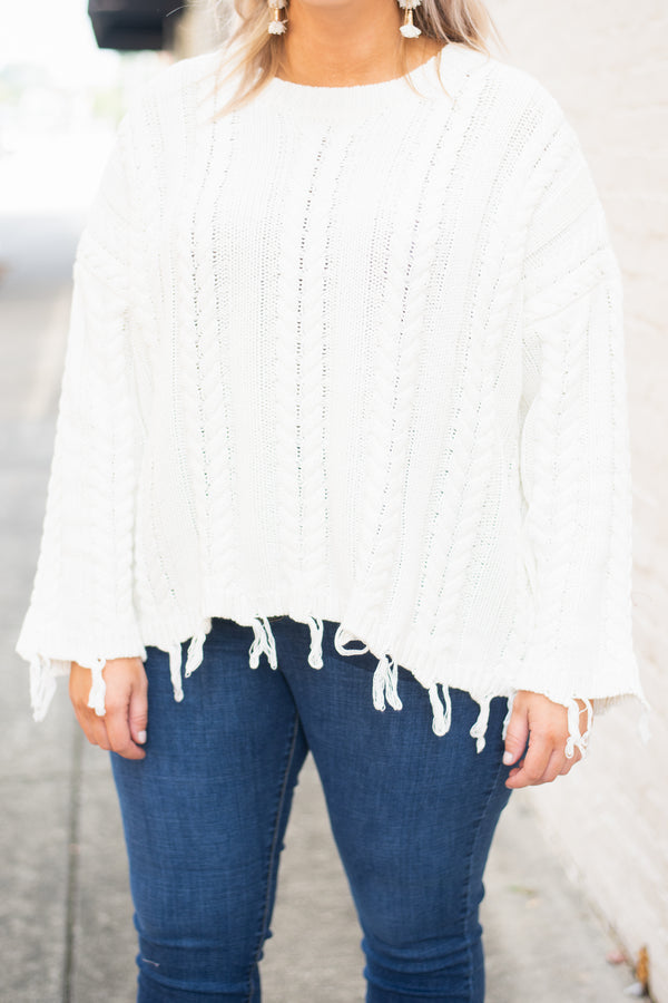 top, sweater, cream, cable knit, distressed hemline, distressed cuffs, cozy