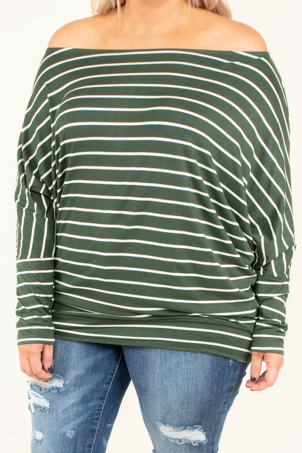 shirt, long sleeve, fitted waist, off the shoulder, olive, white, striped, comfy, fall, winter