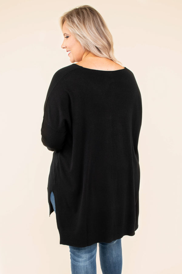 sweater, long sleeve, vneck, side slit, middle seam, black, solid, comfy, flowy, fall, winter