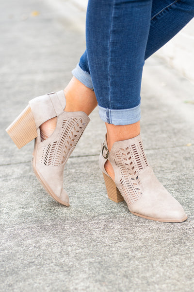 Keepin' It Real Booties, Taupe