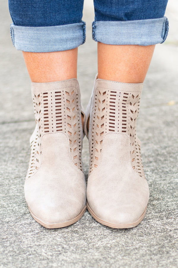 booties, heel, taupe, cut outs, buckle